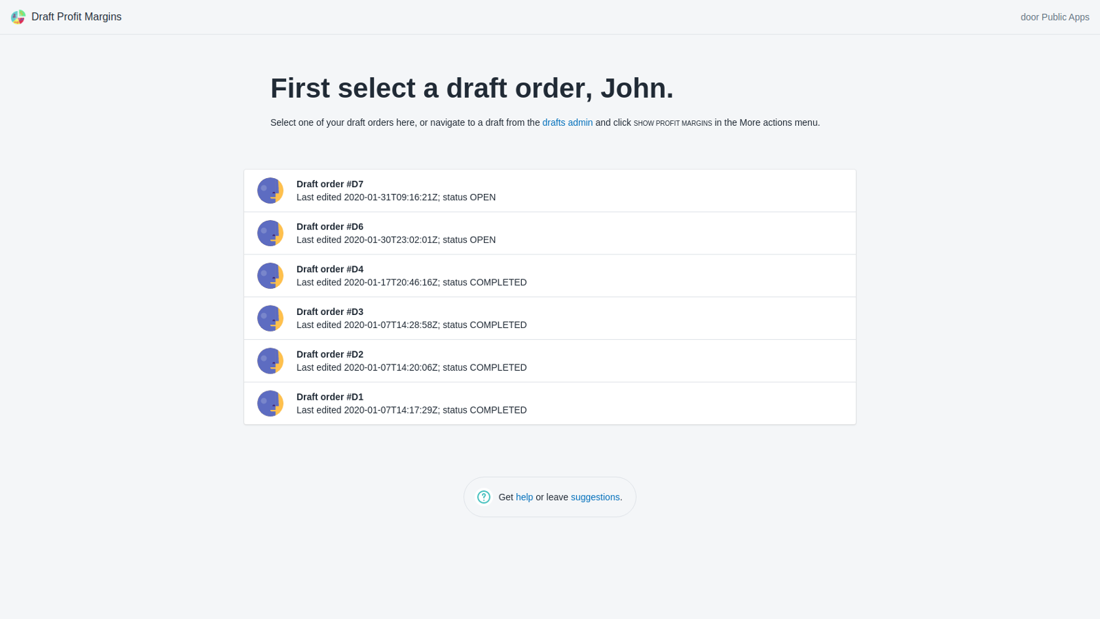 Select a draft screen in our free Shopify app
